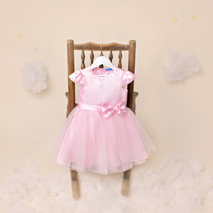 Amara Pink Satin Flowergirls Dress