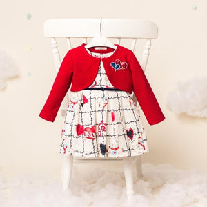 """Noelle"" - Girls Dress Red Love design & Bolero"
