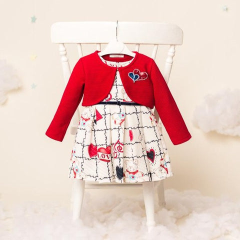 Noelle Girls Dress Red Love & Bolero
