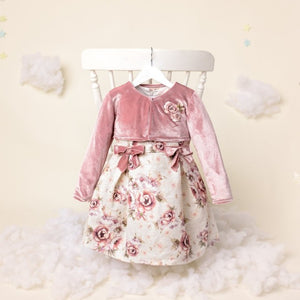 Ruby - Girls Vintage Pink Dress & Velvet Bolero