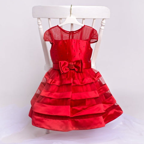 Chanel - Red Girls Party Dress & Hairband