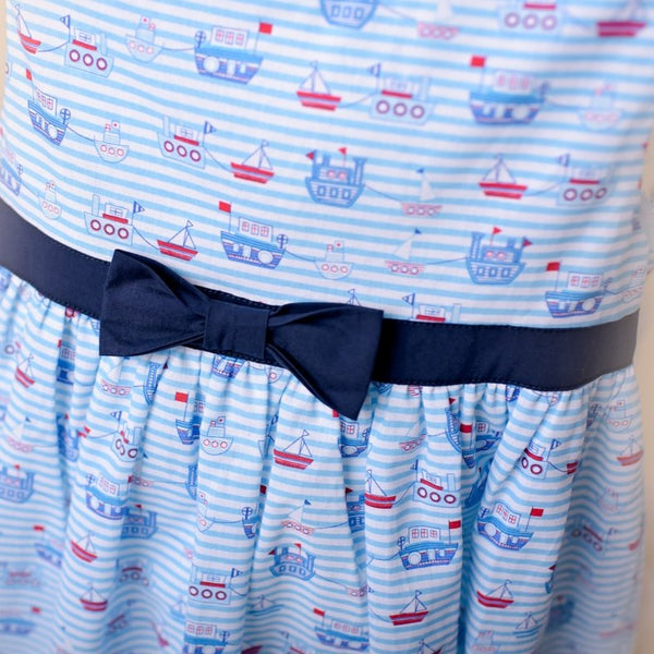 Patsy Nautical Inspired Blue Cotton Dress