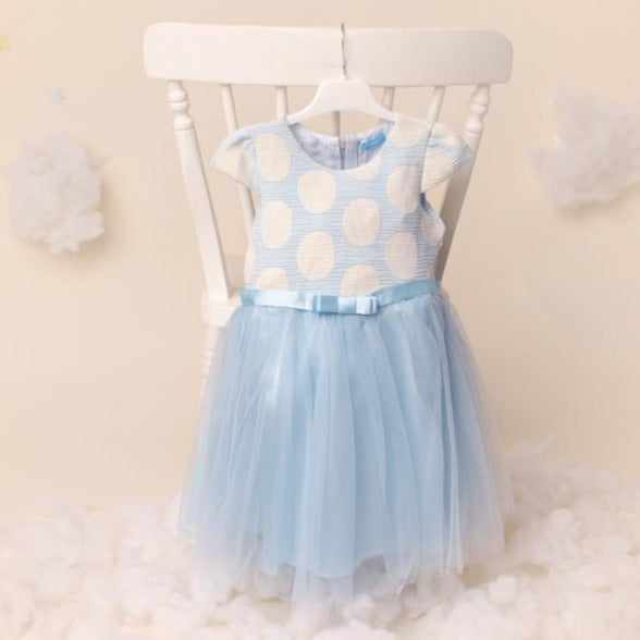 Ky Ky Kids blue Cream Dress