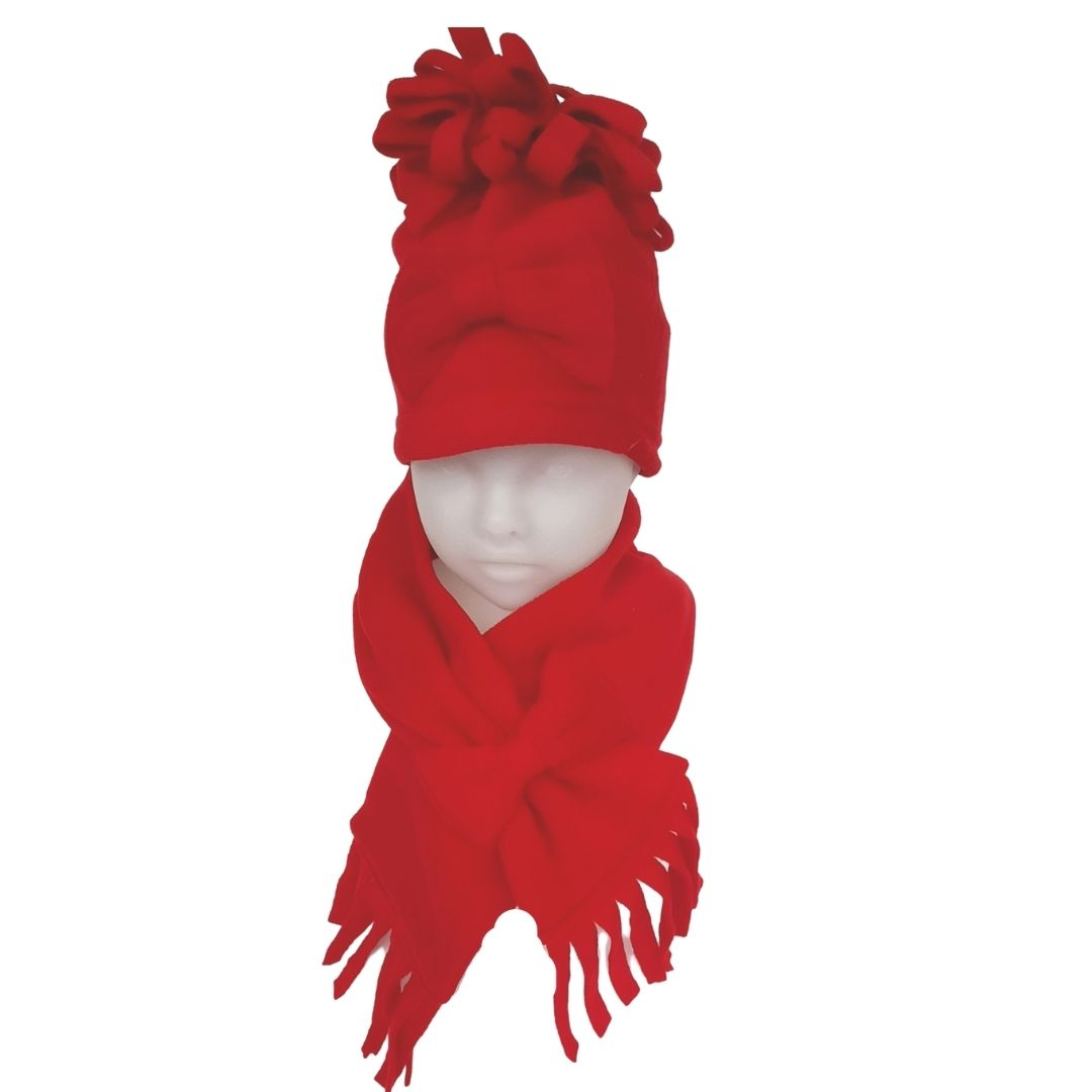 Rosarie Red Bow Hat & Scarf Gift Set