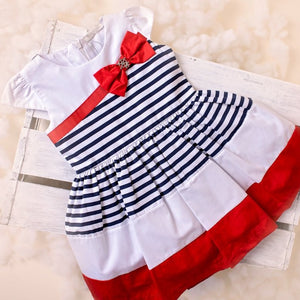 Megan - Red and Navy striped dress