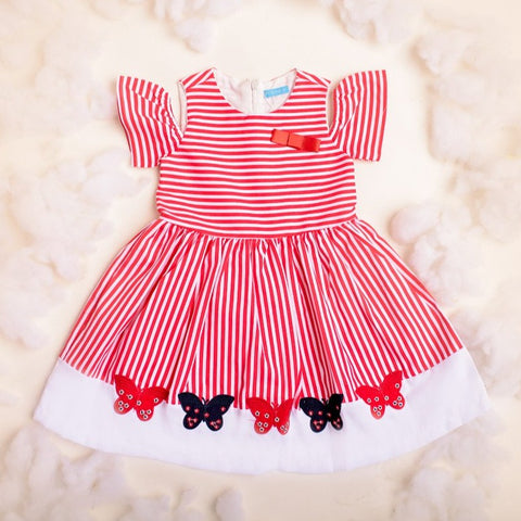 Sally Red Striped Dress