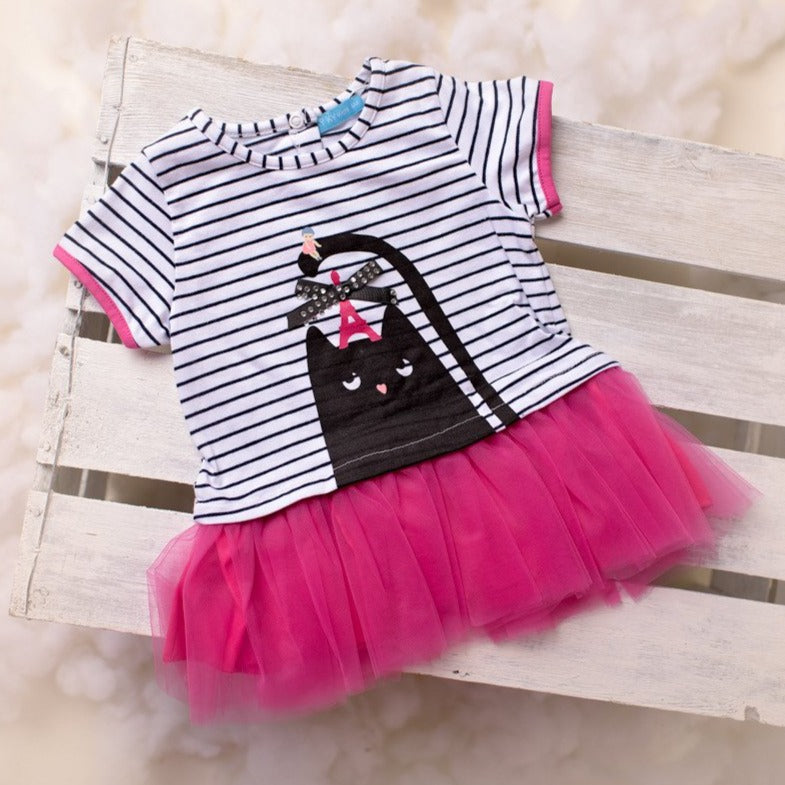 ky ky kids tammy black cat motif dress