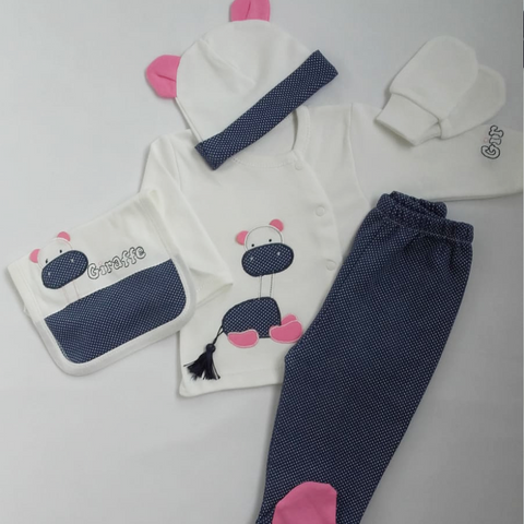 Baby Girl White & Navy Giraffe Gift Set