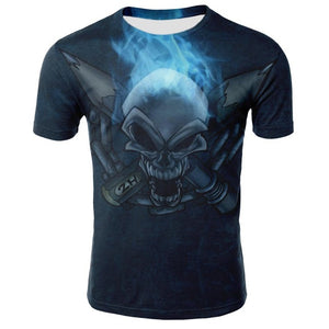 Men's casual 3D skull printed T-shirt