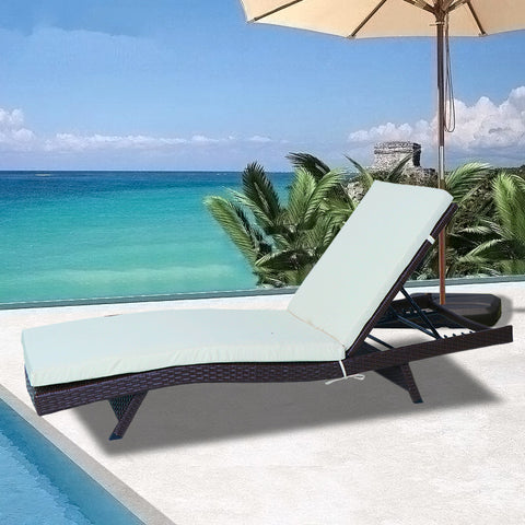 Patio Furniture S shaped Adjustable Chaise Lounge Chair Set All-Weather Sun Chaise Lounge Furniture | Brown Wicker and Brown Thick Cushion - CL01