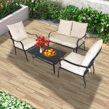4 Pieces Patio Sofa Set 2 PC Club Chair 1 PC Loveseat Set with Adjustable Coffee Table Cushion and Back Rest Pillow Back Yard Pool Seating PSA-4