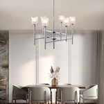 Elegant 6-Lights Chrome Crystal Chandelier Lighting Glass  Shade Indoor Ceiling Light Fixture for Living Room - 10016CH