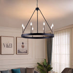 8 Lights Wagon Wheel Chandelier Lighting Farmhouse  Candle Light Fixtures Brass Ceiling Mount for Living Room - VA10518BK+BD