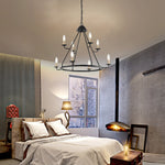 Modern 8-Lights Wagon Wheel Chandelier Farmhouse  Candle Ceiling Light Fixture for Living Room - 10536BK-BD