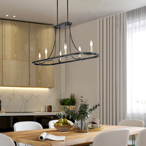 6-Lights Linear Pendant Chandelier Light Black Finish  Ceiling Light Fixture for Kitchen Island Living Room - 10546BK-BD