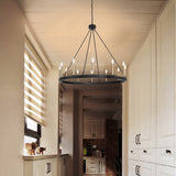 12-Lights Wagon Wheel Chandelier Light Farmhouse Candle  Ceiling Light Fixture for Living Room - 10552BK-BD