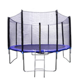 12 FT Round Kids Trampoline Combo Jumping Safety Enclosure Net with Jumping Mat Spring Pad Wind Stakes Including Ladder - BIG12