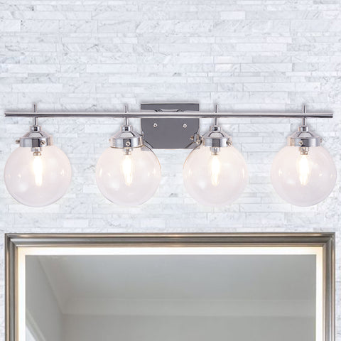 Elegant Bathroom Vanity 4-Lights Clear Glass Shade Reversible Indoor Globe Wall Light Chrome Bath Light - 10104CH