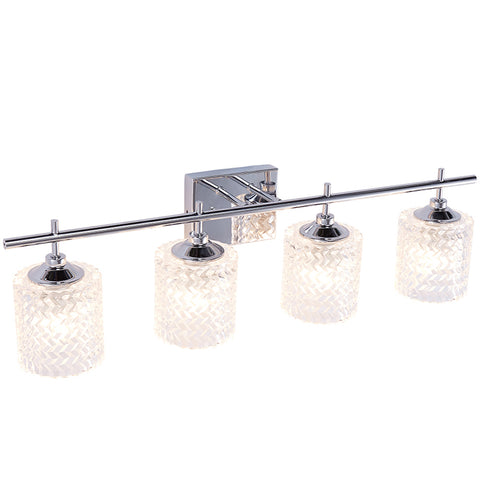 Elegant Bathroom Vanity 4-Lights Clear Glass Shade Reversible Indoor Wall Sconce Lights Chrome Crystal Vanity Light - 10004CH