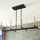 8-Light Linear Pendant Chandelier Lighting Brass Finished Ceiling Light Fixture for Kitchen Living Room - 10528BK-BD