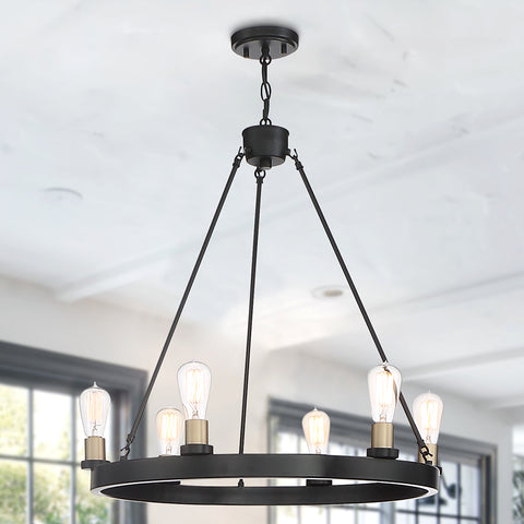 Boaman 6-Light Wagon Wheel Chandelier