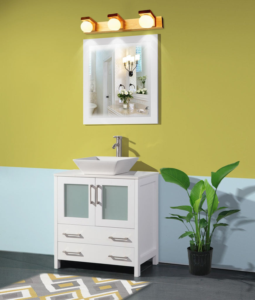 Picture of: 30 Inches Single Sink Small Bathroom Vanity Set 2 Drawers 1 Shelf Quar Homebeyond