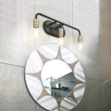 3-Lights Bath Vanity Lights Fixture Linear LED Pendant Lights  Industrial Bathroom Light - 10503BK+BD