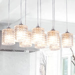 8-Light Cluster Pendant Chandelier Light Chrome Ceiling Light  Fixture for Kitchen Dining Room Living Room - 10018AS