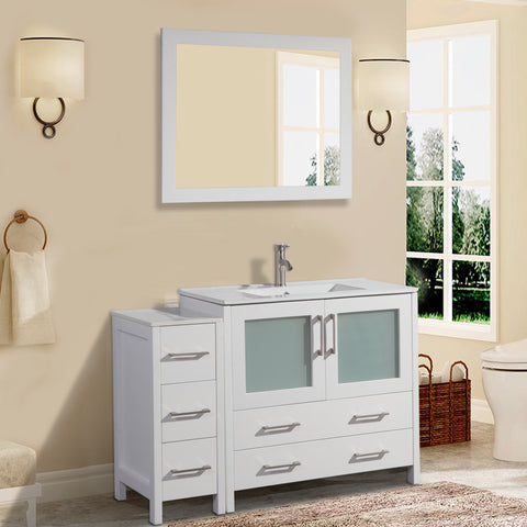 48-inch Single Sink Modern Bathroom Vanity | Compact Set 1 Shelf 5 Drawers - Ceramic Top & Bathroom Cabinet with Free Mirror - VA3036-48