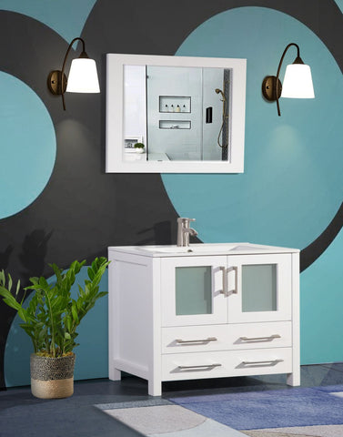 36-inch Single Sink Modern Bathroom Vanity | Compact Set 1 Shelf 2 Drawers - Ceramic Top & Bathroom Cabinet with Free Mirror - VA3036