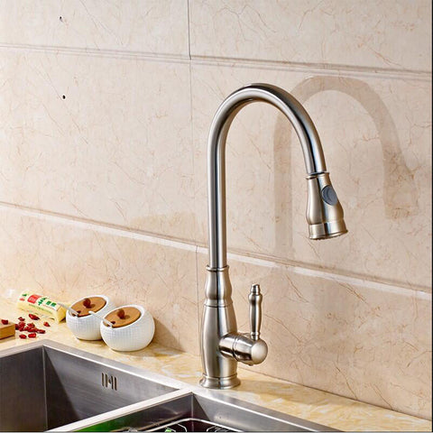 17.3 Inches Pull Out Kitchen Faucet Single Handle Single Level Stainless Steel High Arc Kitchen Sink Faucet with Pull Down Sprayer F80032/BN