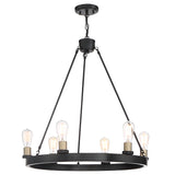6 Lights Wagon Wheel Chandelier Lighting Farmhouse Candle Brass Ceiling Light Fixture for Living Room VA10556BK-BD