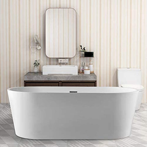 67-L/59-S Inch Freestanding White Acrylic Bathtub |  UPC certified Modern Stand Alone Soaking Tub with Polished Chrome Slotted Overflow & Pop-up Drain - VA6901-L/S