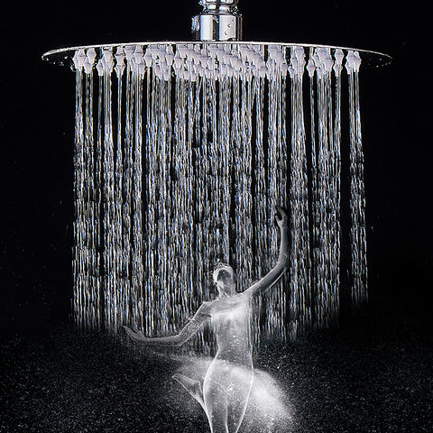 "12"" Luxury Round Rain Showerhead Ultra Thin High Pressure Stainless Steel Rainfall Shower Head with Waterfall Full Body Coverage, Brushed Nickel - 4SR12BN"