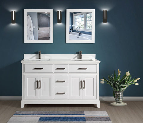 72-Inch Double Sink Bathroom Vanity Set | Super White Phoenix Stone Top, 5 Drawers 2 Shelves Undermount Sink with Two Free Mirror - VA1072-D