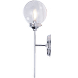 Elegant Bathroom Vanity 1-Light Clear Glass Shade Indoor Globe Wall Light Fixture Chrome Bath Vanity Light - 10101CH