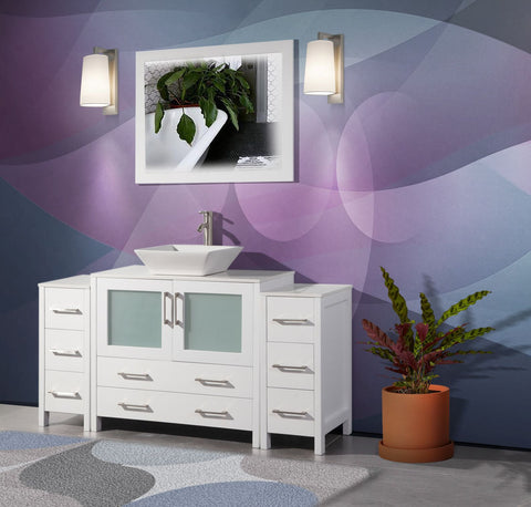 60 Inches Single Sink Small Bathroom Vanity Set 8 Drawers 1 Shelf Quartz Top and Ceramic Vessel Sink Bathroom Cabinet with Mirror VA3136-60