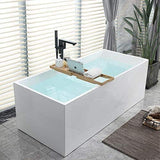 67 x 31.5 Inches Freestanding Acrylic Bathtub Modern Stand Alone Soaking Tub with Chrome Finish UPC Certified Slotted Overflow and Pop-up Drain VA6813B-L