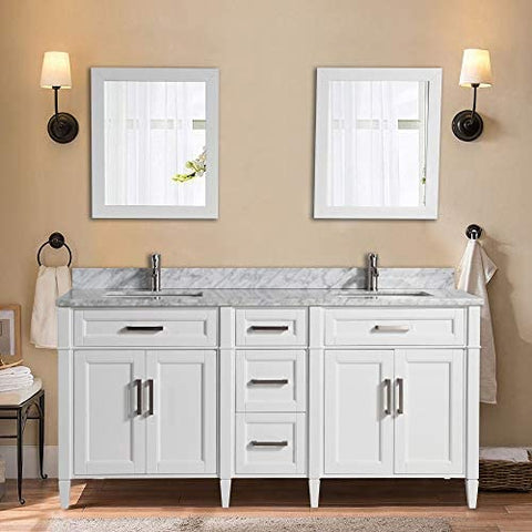 72-Inch Double Sink Bathroom Vanity Set  Carrara Marble Stone Top, 5 Drawers 2 Shelves Undermount Sink with Two Free Mirrors - VA2072-D