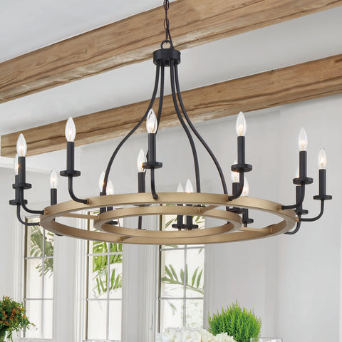 16 Lights Wagon Wheel Chandelier Lights Farmhouse Candle Style Rustic Hanging Ceiling Light Fixture for Living Room Kitchen Dining Room 51836BK-BD