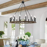 Farmhouse Vintage 16 Lights Wagon Wheel Chandelier Lights Ceiling Light Fixture For Living Room Dining Room - 10586DW-BK