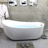 71 x 35 Inches Freestanding Acrylic Bathtub Modern Stand Alone Soaking Tub with Polished Chrome UPC Certified Round Overflow and Pop-up Drain VA6512-L