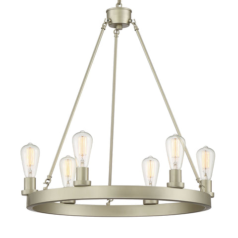 Vanity Art 6-Lights Wagon Wheel Chandelier Lighting Farmhouse Candle Brass Ceiling Light Fixture for Living Room 10556AS