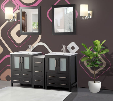 60-inch Double Sink Bathroom Vanity Combo Set with 2 Shelves, 7 Drawers Ceramic Top Bathroom Cabinet with Two Free Mirror - VA3024-60