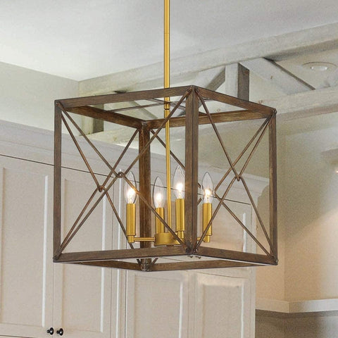 Vanity Art Farmhouse Vintage 4 Lights Cage Pendant Chandelier Lighting Ceiling Light Fixture Antique Brown Lantern Chandelier for Living Room Dining Room 12124WN-GD