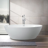 68.5-L/55-S Inch Freestanding Acrylic Bathtub | Modern Stand Alone Soaking Tub with Chrome Finish, Slotted Overflow & Pop-up Drain - VA6834-L/S