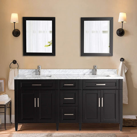 72-Inch Double Sink Bathroom Vanity Set | Carrara Marble Stone Top, 5 Drawers 2 Shelves Undermount Sink with Two Free Mirrors - VA2072-D