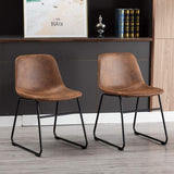 Set of 2 Pcs Synthetic Leather Upholstered Dining Chairs Armlesss with Metal Legs UC-13