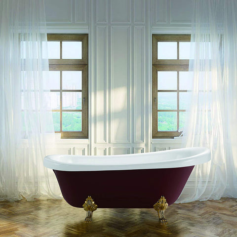 "67"" x 31.5"" Freestanding Red Acrylic Bathtub 