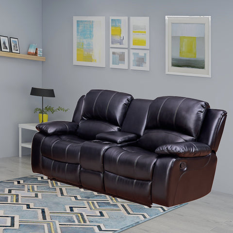 2-Pieces Bonded Leather Motion Glider Recliner Loveseat Sofa with Storage Console | Manual Reclining Couch for Living Room Set - VA8018-32-BLK/BRN